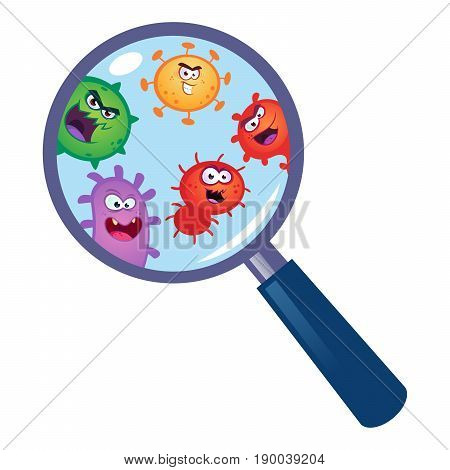 Magnifying Glass look through germ, bacteria, virus.