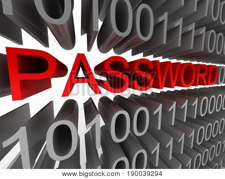 Password in the form of binary code isolated on white background. High quality 3d render.