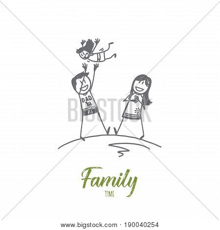 Vector hand drawn family time concept sketch with father and mother playing with their small daughter