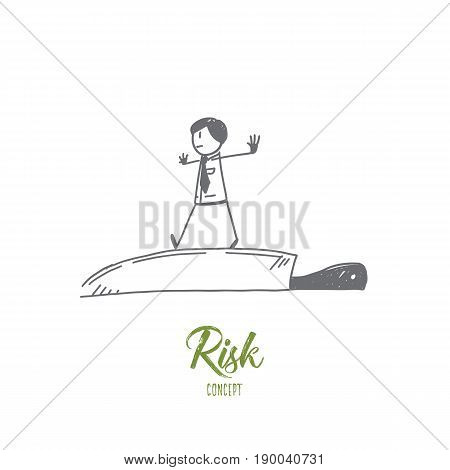Vector hand drawn Risk concept sketch. Businessman balancing at the tip of the knife