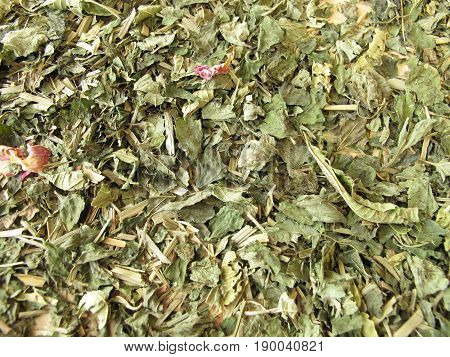 Background with loose dried herbal tea leaves poster