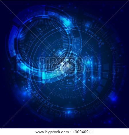 Image in blue colors symbolizes the planet Earth and the Solar System around it.