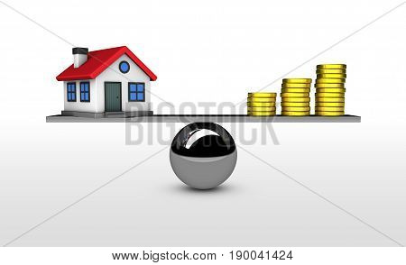 Property value house investment and mortgage concept with balance between home model and money 3D illustration.