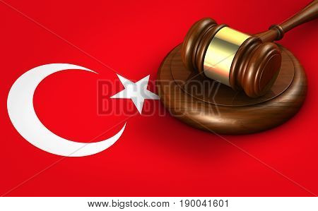 Turkey law legal system and justice concept with a 3D rendering of a gavel on Turkish flag.