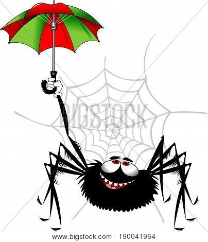 Cheerful black spider playing with colored umbrella vector and illustration