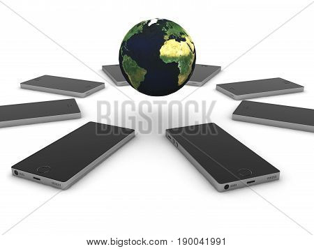 Mobile internet. Smartphones and glode isolated on white background. High quality 3d render.