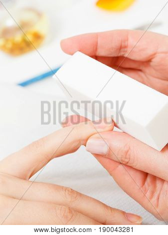 Preparing Nails Before Manicure, Beautician File Nails