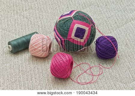 Unfinished embroidered temari ball (traditional Japanese toy and decoration)