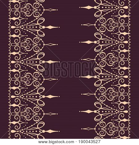 Sketch of endless stripes in henna tattoo style. Mehndi element for tattoo design card backgrounds print on clothes or else. Seamless pattern with vector stripes.