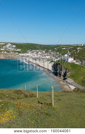 Portreath beach and village from western hill, Cornwall England UK.