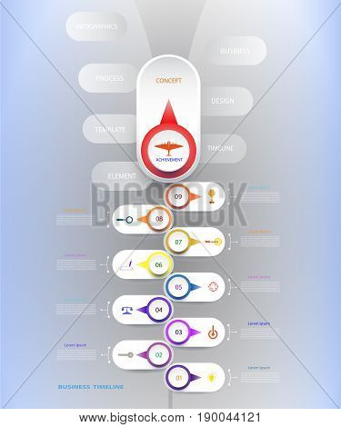 Vector infographic template with number 9 step integrated circles. Business concept with options. For content diagram flowchart steps parts timeline infographics workflow layout chartVector illustration