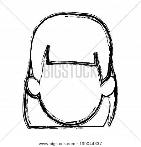silhouette drawing of faceless half body woman with t-shirt and pin up swirl hairstyle vector illustration