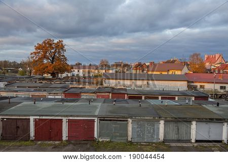 Old garages in line - Poland Europe.