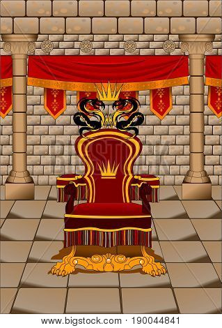 red fantasy throne with red curtains background illustration