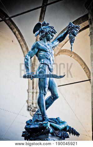 Perseus statue with the head of Medusa , in Loggia de' Lanzi, Piazza della Signoria, Florence. Sculptor Benvenuto Cellini 1545-1554 poster