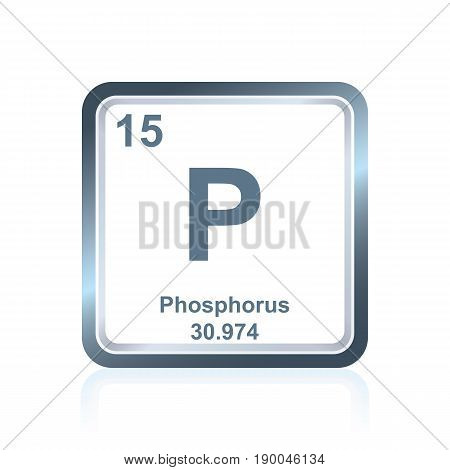Symbol of chemical element phosphorus as seen on the Periodic Table of the Elements, including atomic number and atomic weight.