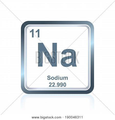 Symbol of chemical element sodium as seen on the Periodic Table of the Elements, including atomic number and atomic weight.