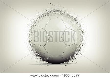 Blank soccer ball exploding on gradient background