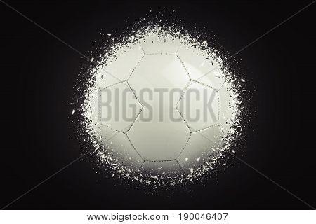 Blank soccer ball exploding on black background