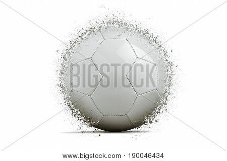 Blank soccer ball exploding on white background