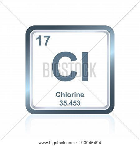 Symbol of chemical element chlorine as seen on the Periodic Table of the Elements, including atomic number and atomic weight.