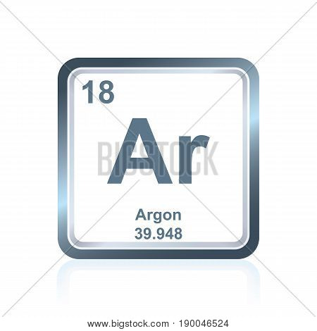 Symbol of chemical element argon as seen on the Periodic Table of the Elements, including atomic number and atomic weight.