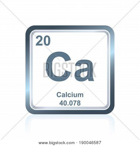 Symbol of chemical element calcium as seen on the Periodic Table of the Elements, including atomic number and atomic weight.