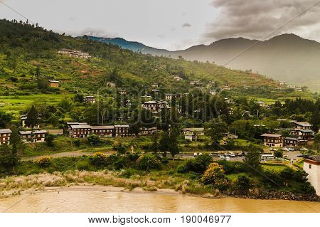 Bhutanese Village Near The River At Punakha, Bhutan