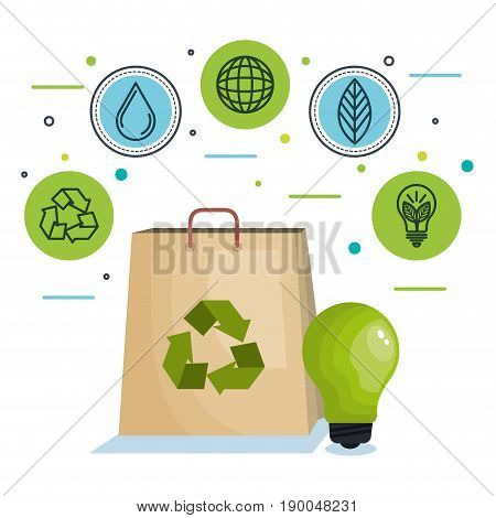Paper bag with arrow recycle symbol lighbulb and ecofriendly icons over white background vector illustration