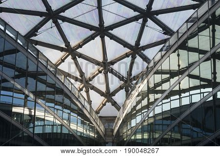 MILAN, ITALY - APRIL 8, 2017: Milan (Lombardy Italy): Palazzo Lombardia modern building hosting the government of the Region: the glass ceiling of the court