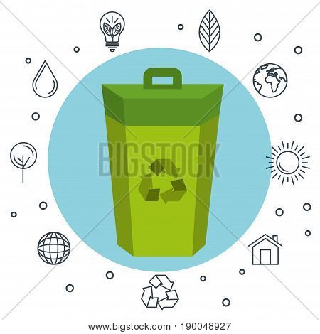 Colorful trash can with recycle symbol  icon and hand drawn related icons over white background vector illustration.