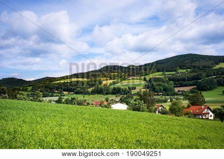 Mountain Settlement landscape of Austria with village in mountain range