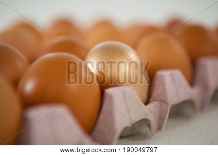 Close-up of golden Easter egg in carton