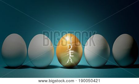 Concept a new idea. Shell of the golden egg is cracked in the form of the word