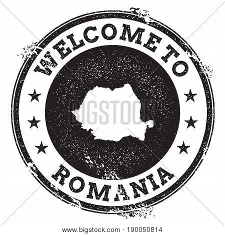 Vintage Passport Welcome Stamp With Romania Map. Grunge Rubber Stamp With Welcome To Romania Text, V