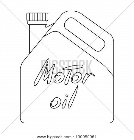 Can of engine oil.Car single icon in outline style vector symbol stock illustration .