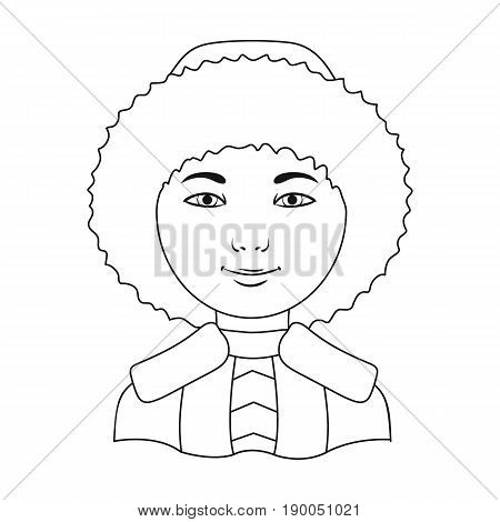 Eskimo. Human race single icon in outline style vector symbol stock illustration .