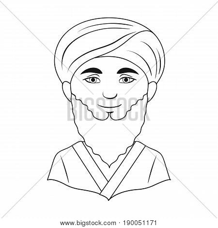 Man from middle Asia.Human race single icon in outline style vector symbol stock illustration .