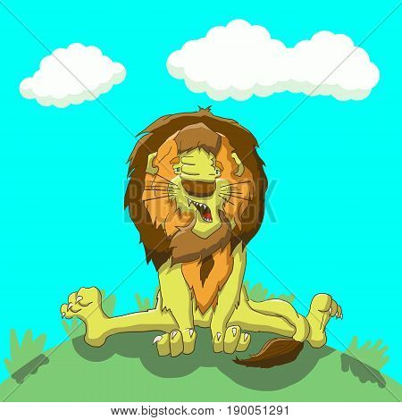 Vector illustration tired lion sitting on the lawn