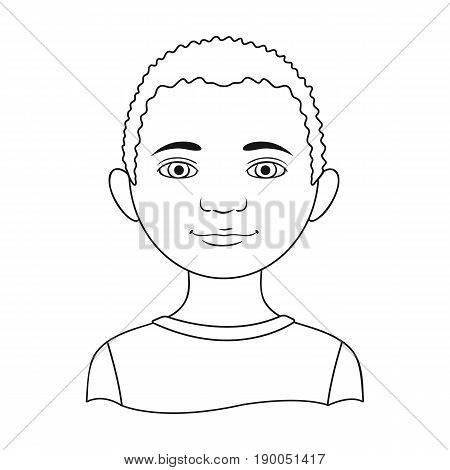 African.Human race single icon in outline style vector symbol stock illustration .