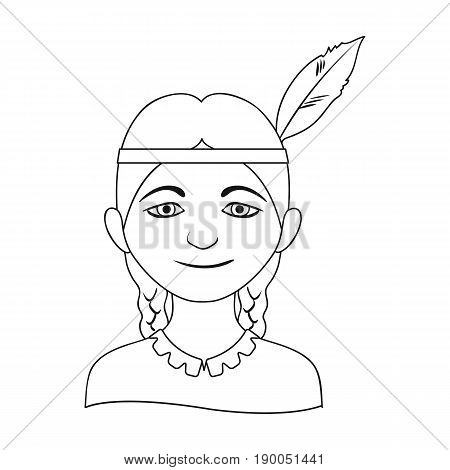 Indian.Human race single icon in outline style vector symbol stock illustration .