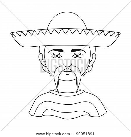 Mexican.Human race single icon in outline style vector symbol stock illustration .