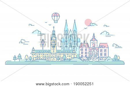 European countries - modern vector line travel illustration. Netherlands and Germany. Destination scenics for postcard, banner, leaflet. World famous landmarks - Cologne cathedral, Hamburg Rathaus