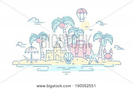 At the Seaside - modern vector line travel illustration. Island paradise concept. Have a trip, enjoy your vacation on the beach. Destination scenics for postcard, banner, leaflet.