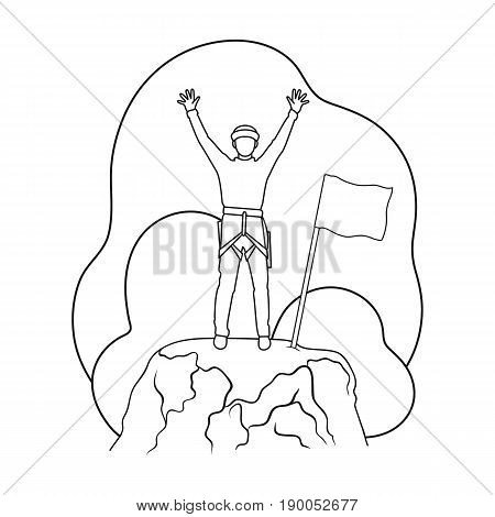 Climber on conquered top.Mountaineering single icon in outline style vector symbol stock illustration .