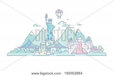 America - modern vector line travel illustration. Discover the New World continent. World famous landmarks - statue of liberty, Brooklyn bridge, Mayan temple