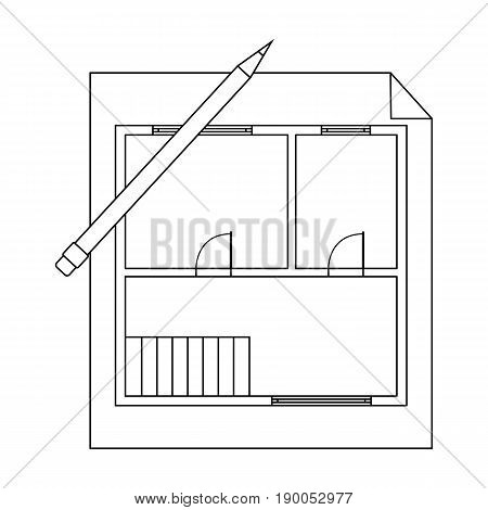 House plan.Realtor single icon in outline style vector symbol stock illustration .