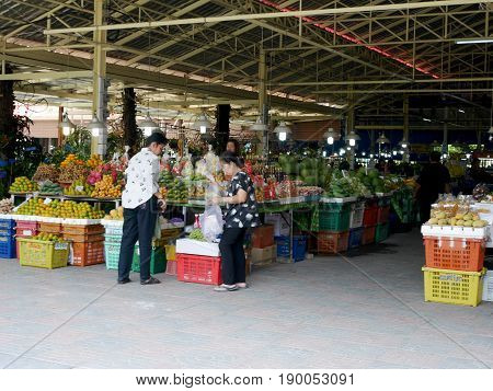 Asian Thai Women And People Travel And Shopping Product And Food From Local Shop At Don Wai Floating