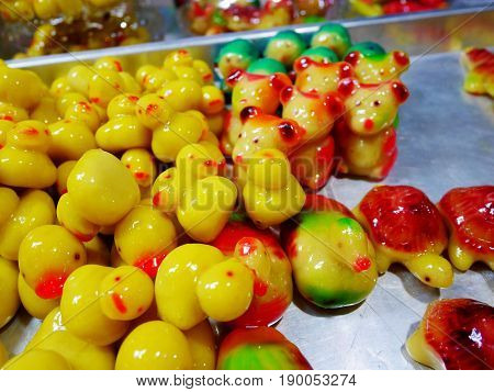 Deletable Imitation Fruits And Animals (kanom Look Choup) This Dessert