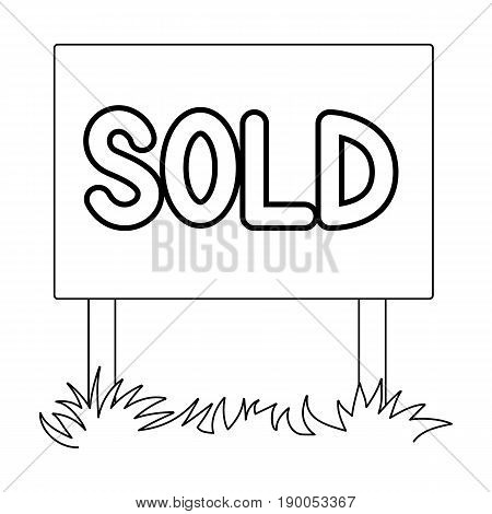 Signboard-sold.Realtor single icon in outline style vector symbol stock illustration .